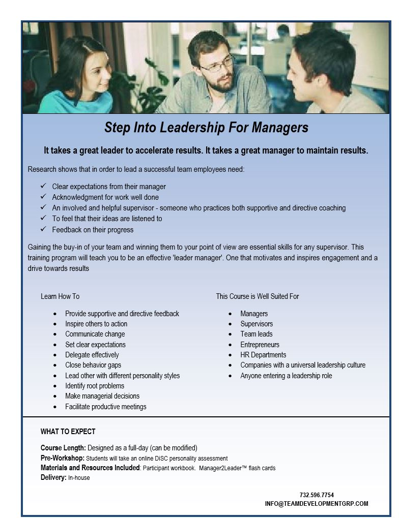 step into leadership team development group llc click to view course information sheet